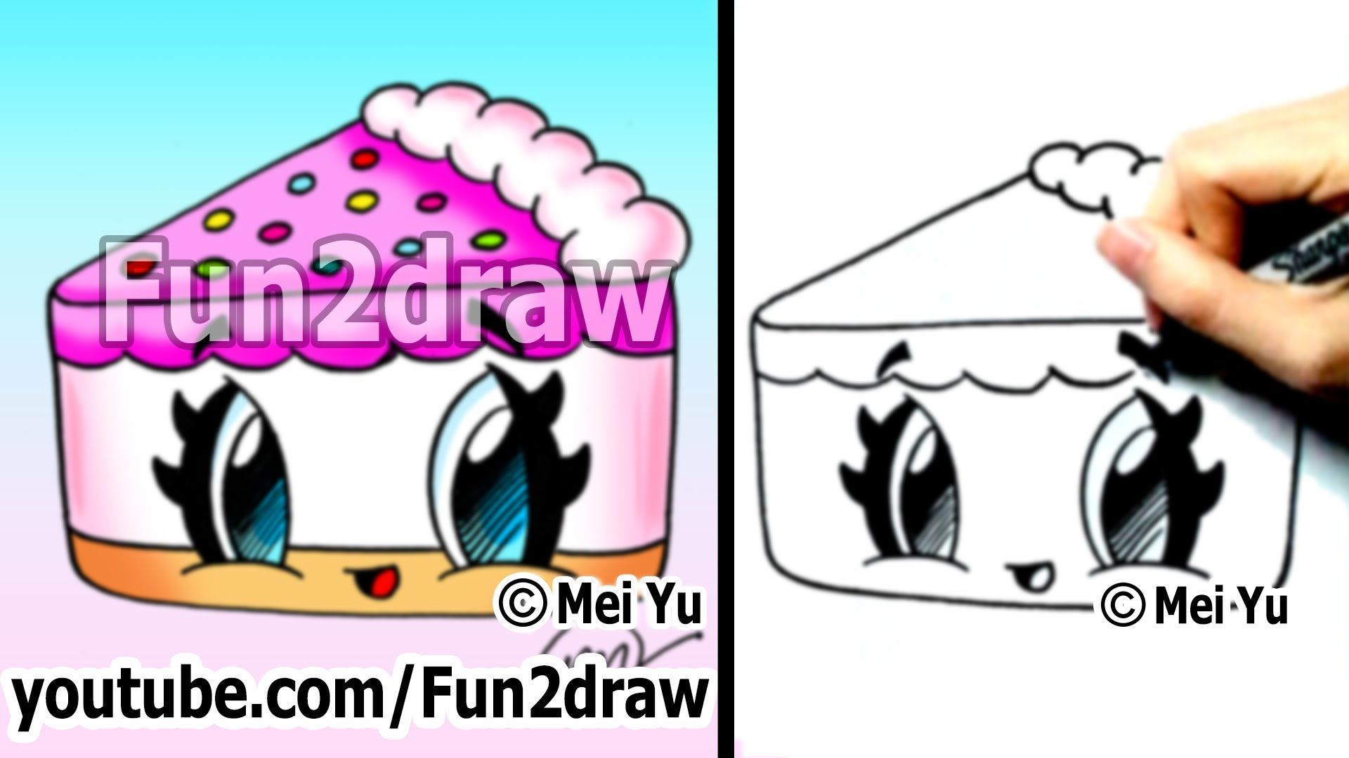 Cute drawings how to draw kawaii cartoons cake fun 2 for Funny simple drawings