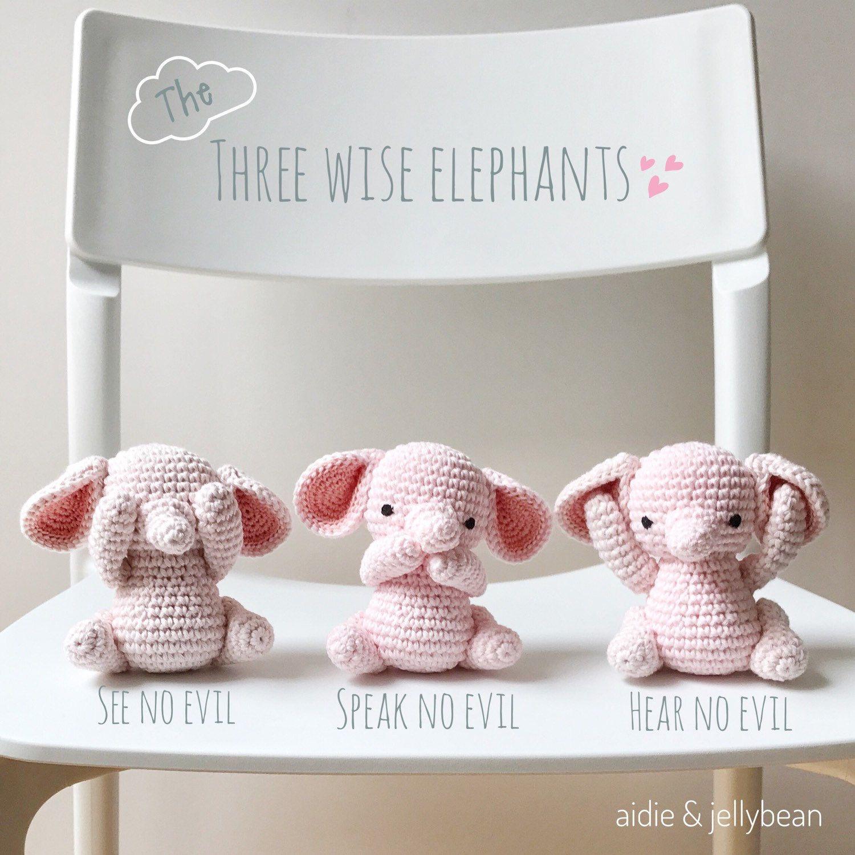 Three wise ELEPHANTS crochet amigurumi - see no evil, speak no evil ...