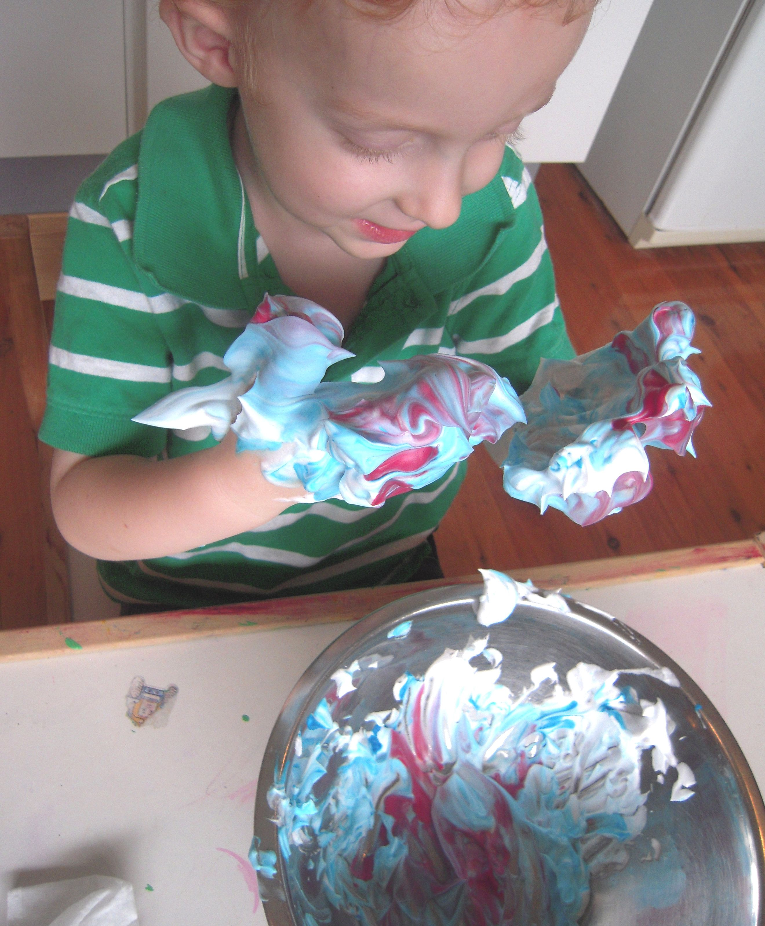 Sensory Play With Shaving Foam And Food Colouring Easy Cleanup Too Love This For Kids