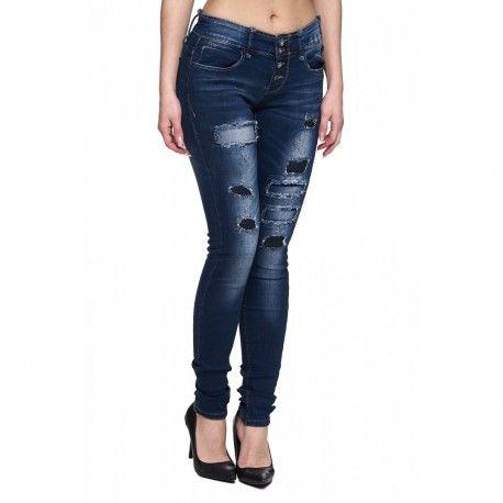 e103a626fd intueriecommerce.com Vaqueros de mujer con rotos Jeans de mujer de pantalón  largo super ajustados
