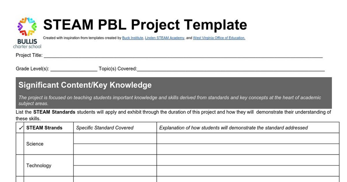 Bcs Steam Pbl Template Landscape 2015 Pbl Pbl Projects Project Based Learning