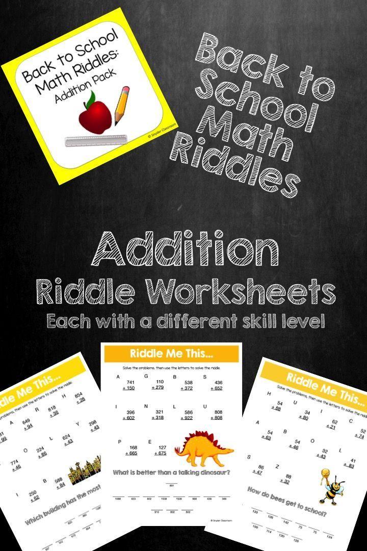 Back to School Addition Math Riddles Math riddles, Math