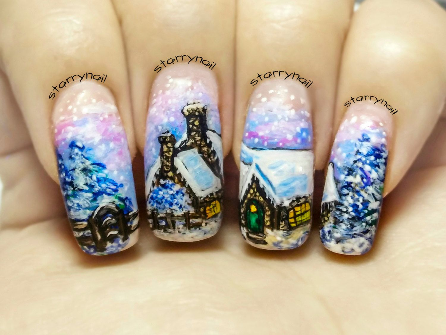 Winter Cottage ⎮ Christmas Freehand Nail Art. Handmade Fake Nails ...