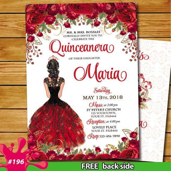 Quinceañera Red Gold Invitation Sweet 15 Princess Miss