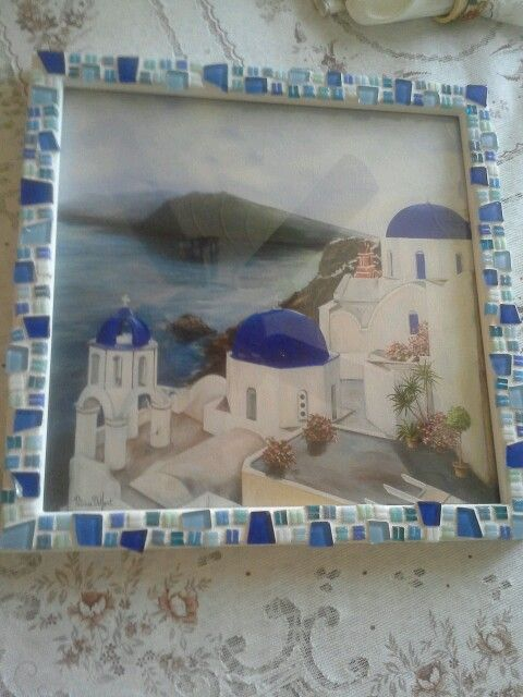 Diy Mosaic Frame All You Need Is Wooden Frame Mosaic Tiles Tile