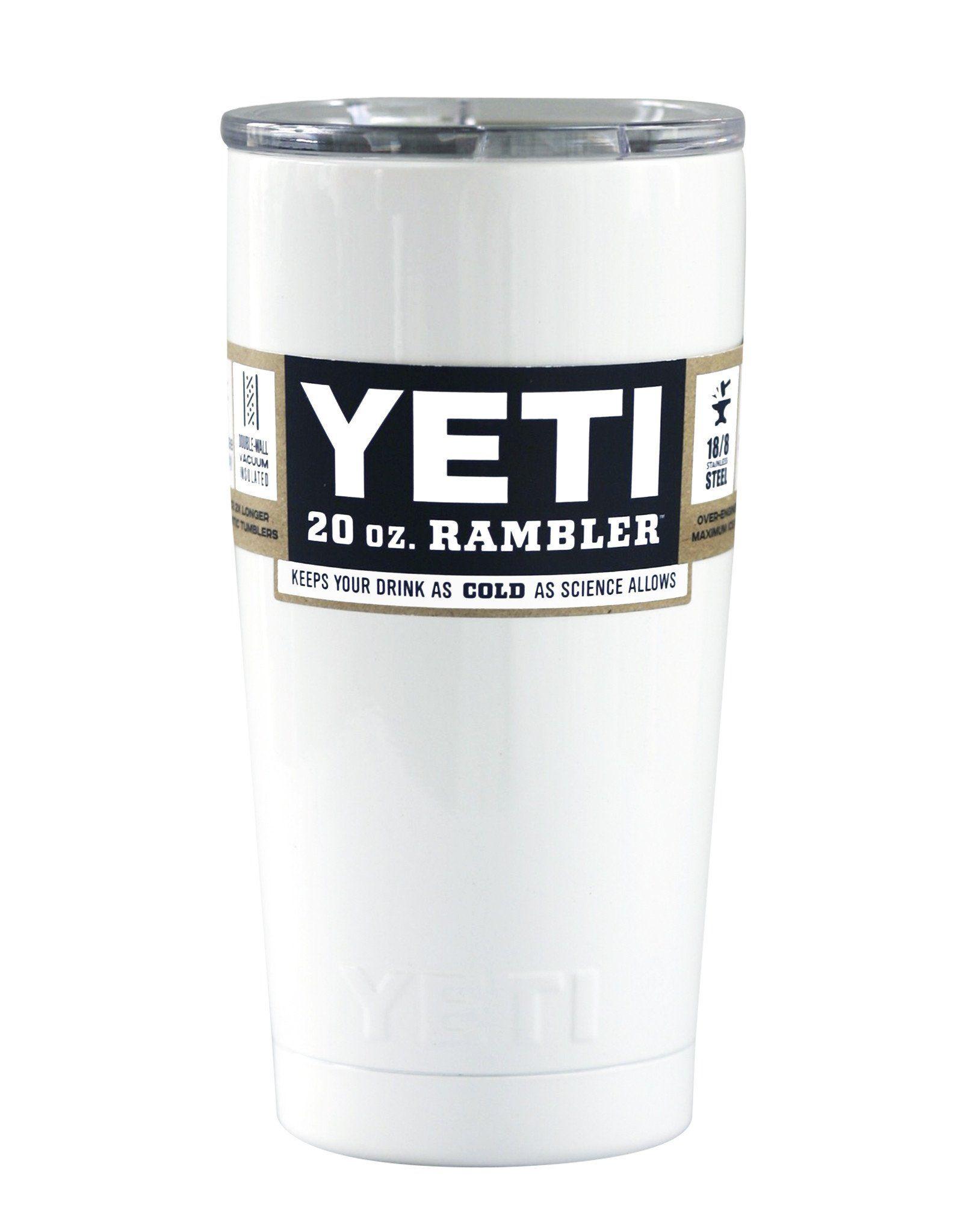 White YETI 20 oz Rambler Tumbler Cup Yeti 20, Tumbler