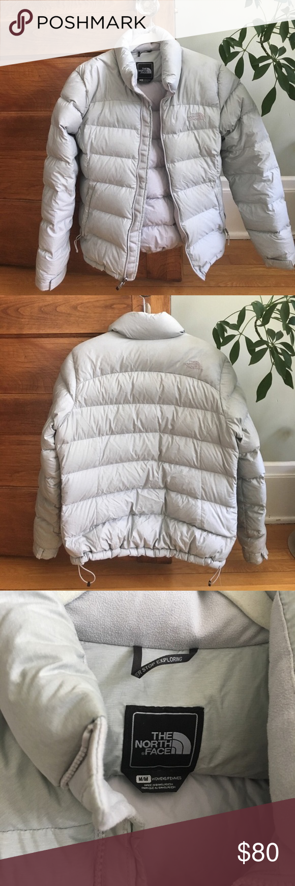 North Face light grey down jacket sz M Good used condition, only worn a few times! Selling because a little big for me The North Face Jackets & Coats Puffers