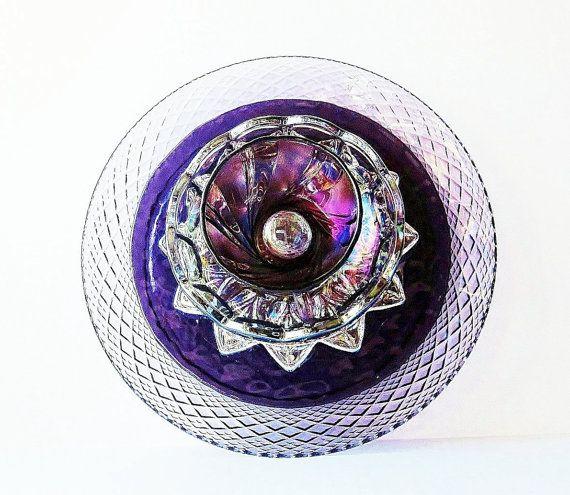 Garden Art Glass Plate Purple Flower Yard Stake by jarmfarm, $75.00