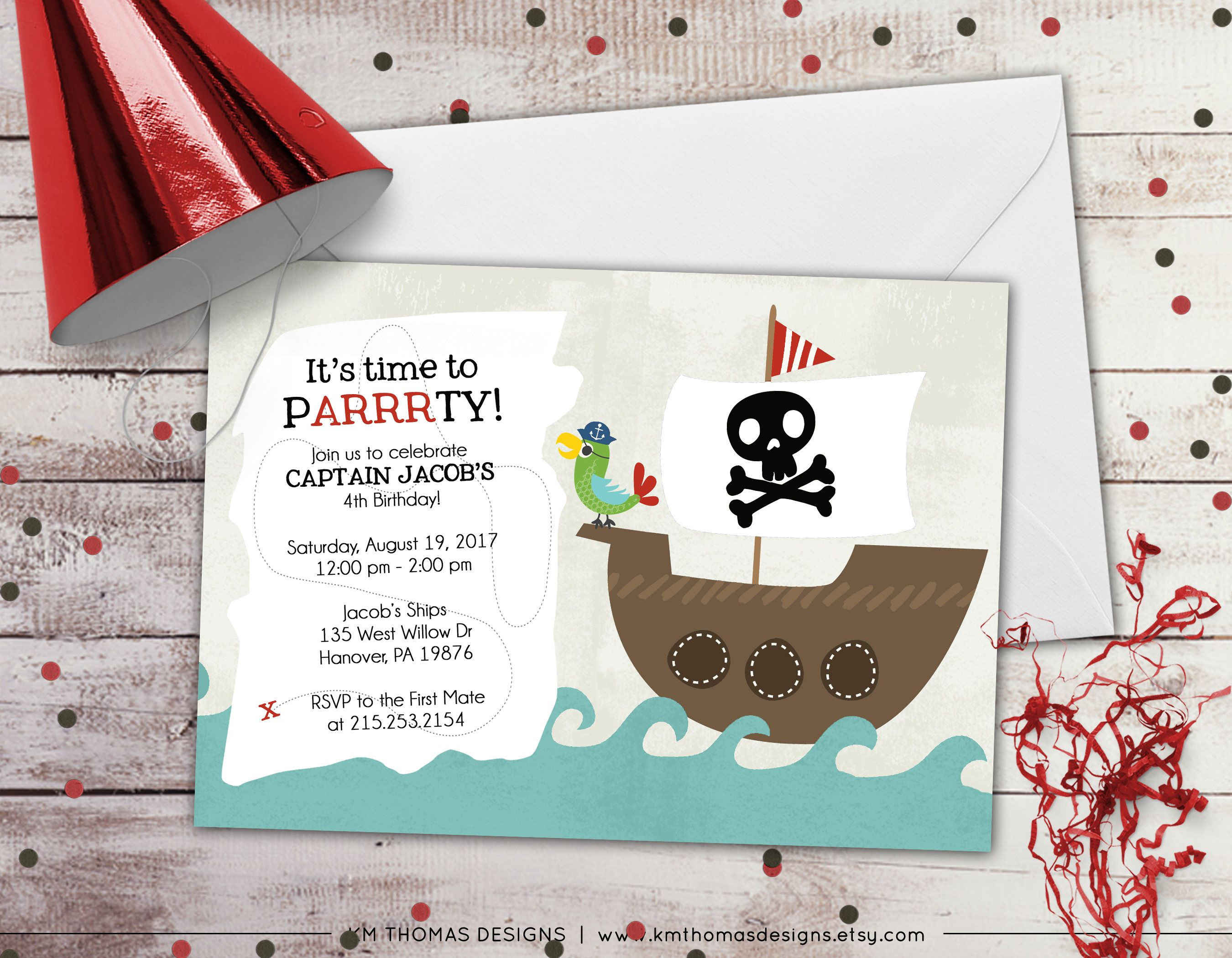 Pirate Birthday Invitation - Pirate Ship Birthday Invitation ...