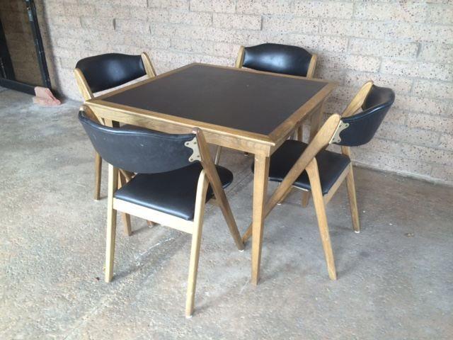 Mid Century Modern Coronet Wonderfold Card Table With Four Folding