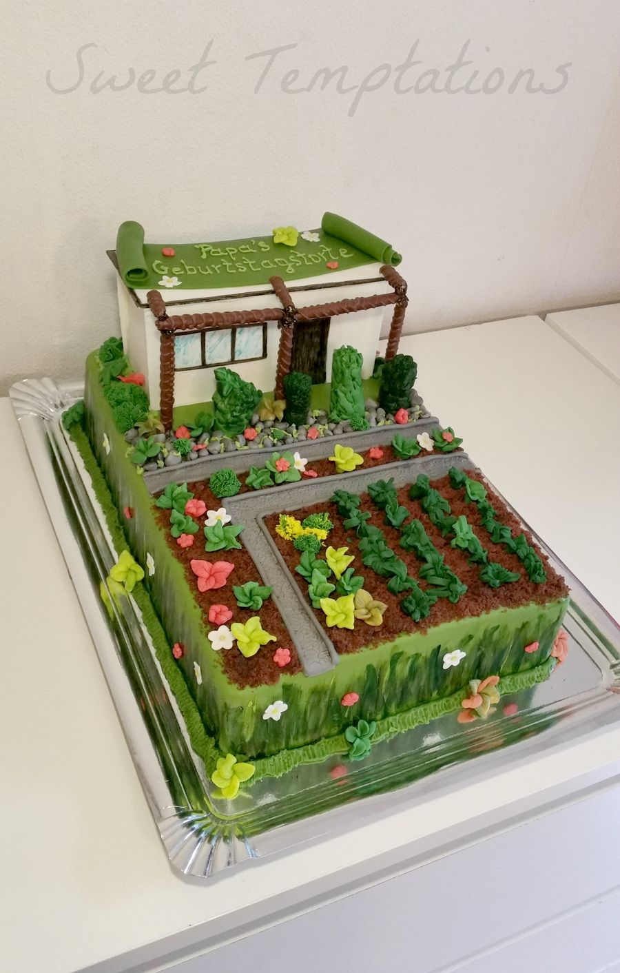 Birthday Cake With Garden Shed And Garden For A Big