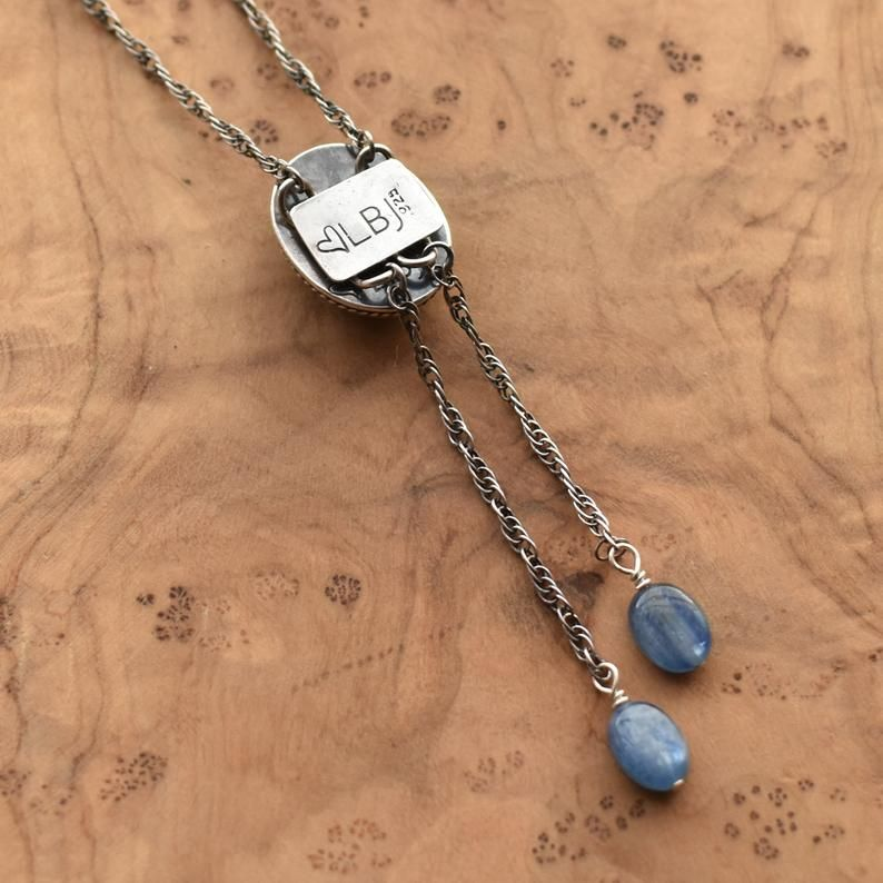 Kyanite Necklace Blue Kyanite Bolo Silversmith Sterling Silver Mock Bolo