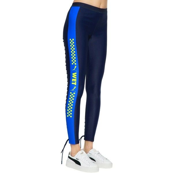 2769376dc9d1f Fenty X Puma Women Wet Printed Lace-up Leggings ($225) ❤ liked on Polyvore  featuring pants, leggings, blue, stretch waist pants, print pants, ...