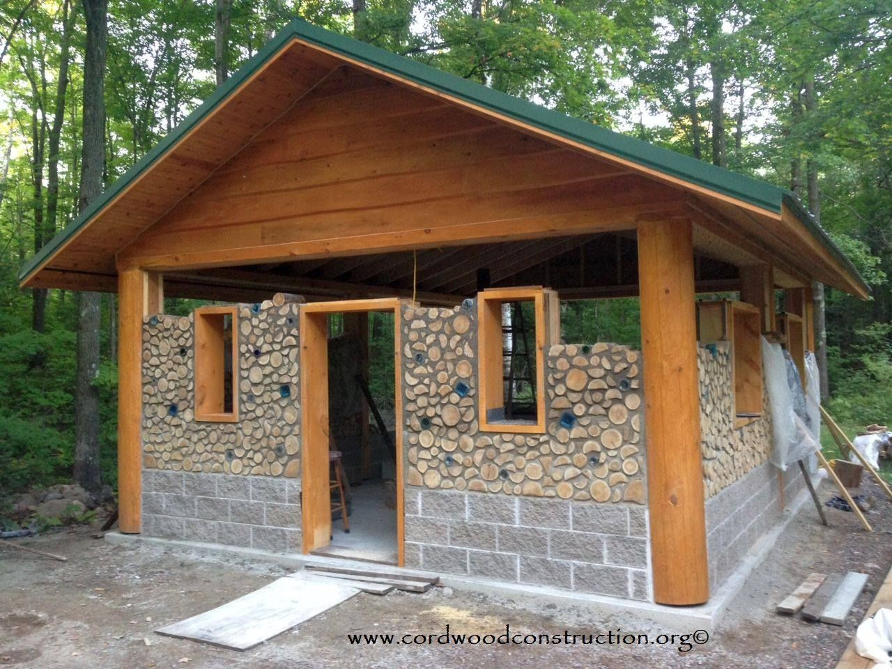 Cordwood log homes woodshop projects misc pinterest for Cordwood building plans