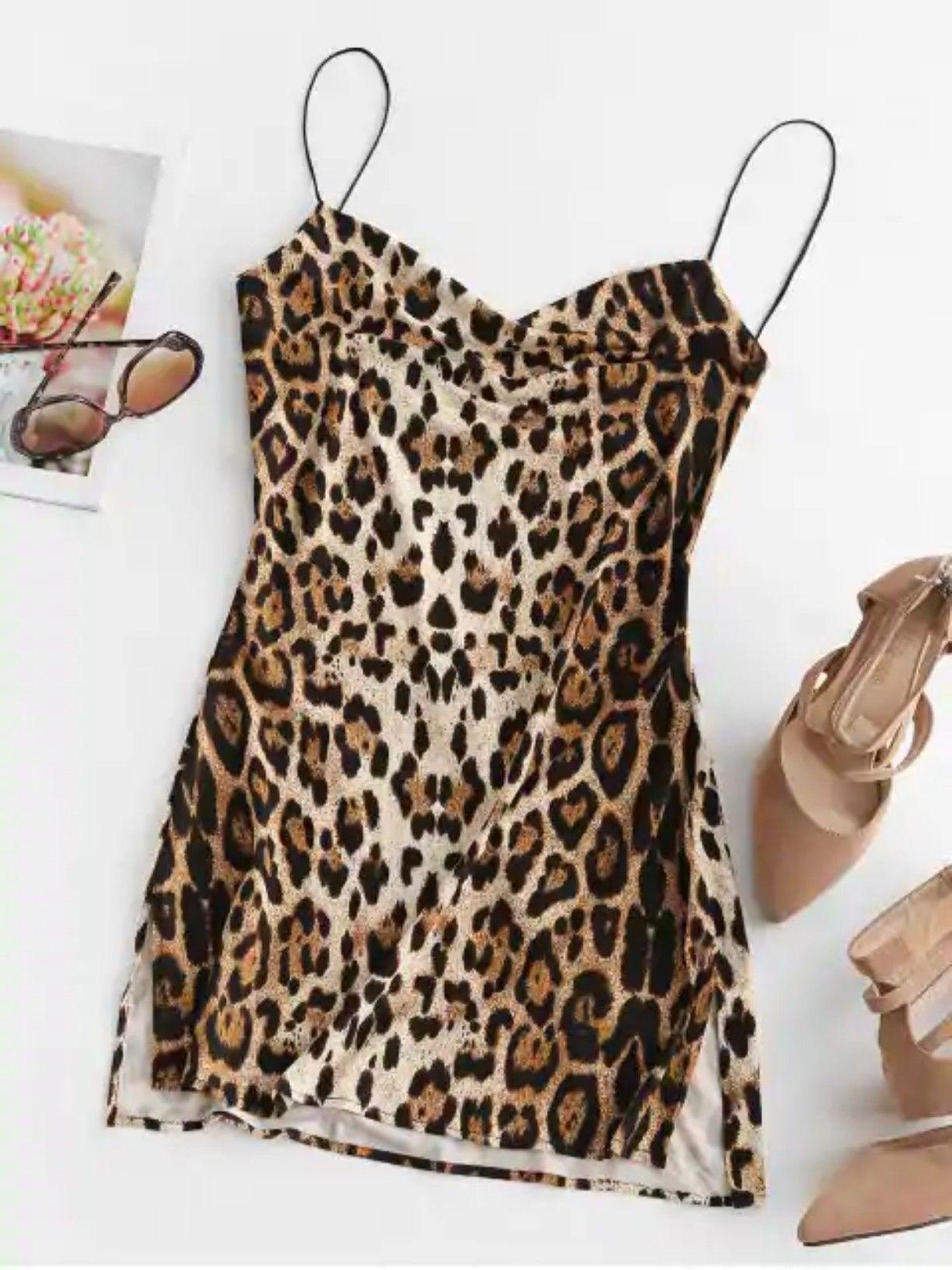 Snakeskin Leopard Print Slits Flared Cami Dress MULTI