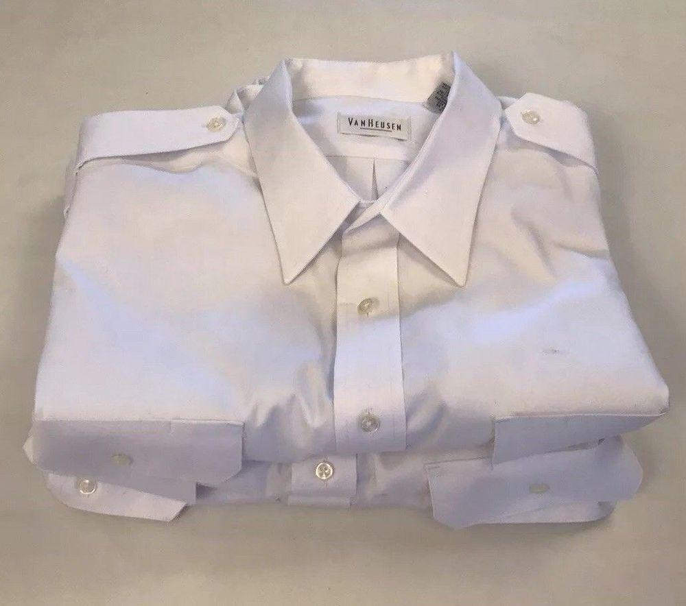 aa10064f4b7 Van Heusen Men s Aviator Pilot Shirt Short Sleeve 18 White Lot of 3   VanHeusen