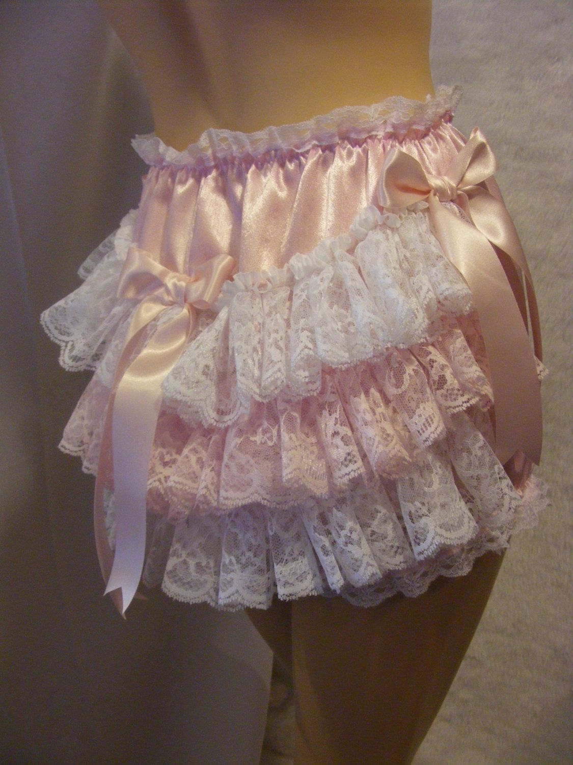 Frilly Sissy Tumblr for sissy adult baby pink satin and lace panties, knickers, diaper