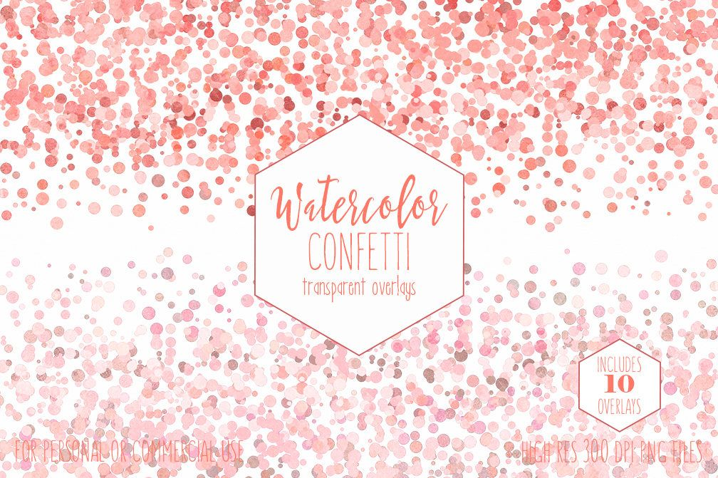 Confetti watercolor PNG Photos.