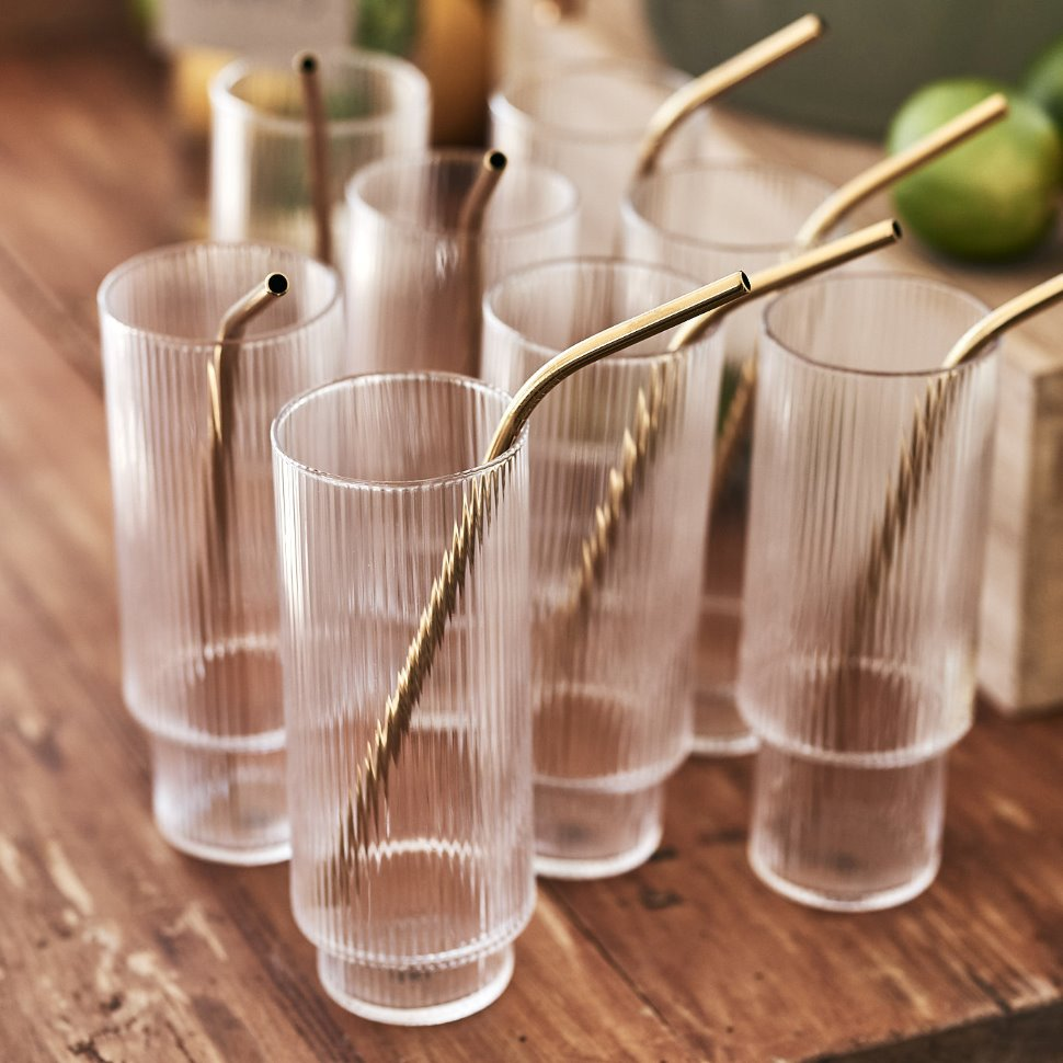 Ripple Long Drink Glass 4 Pack From Ferm Living By Ferm Living Long Drink Ferm Living Mouth Blown Glass