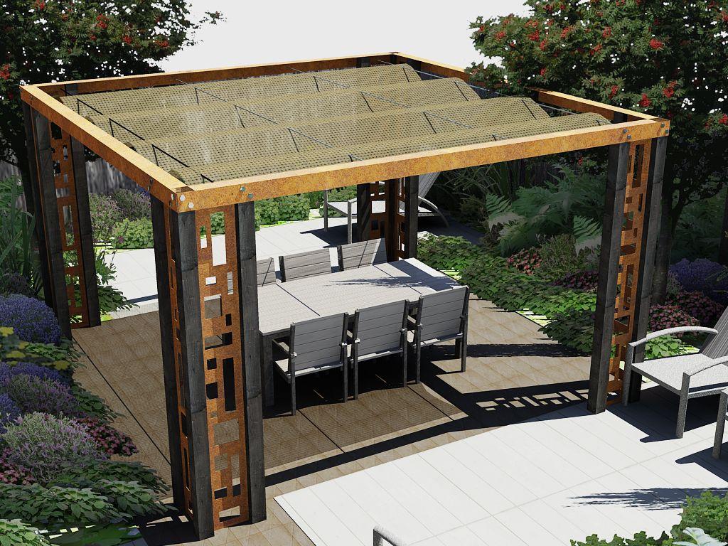 Pergola model wood en steel pergola pinterest bladgoud terrasoverkapping en tuinen - Bedekking voor pergola ...