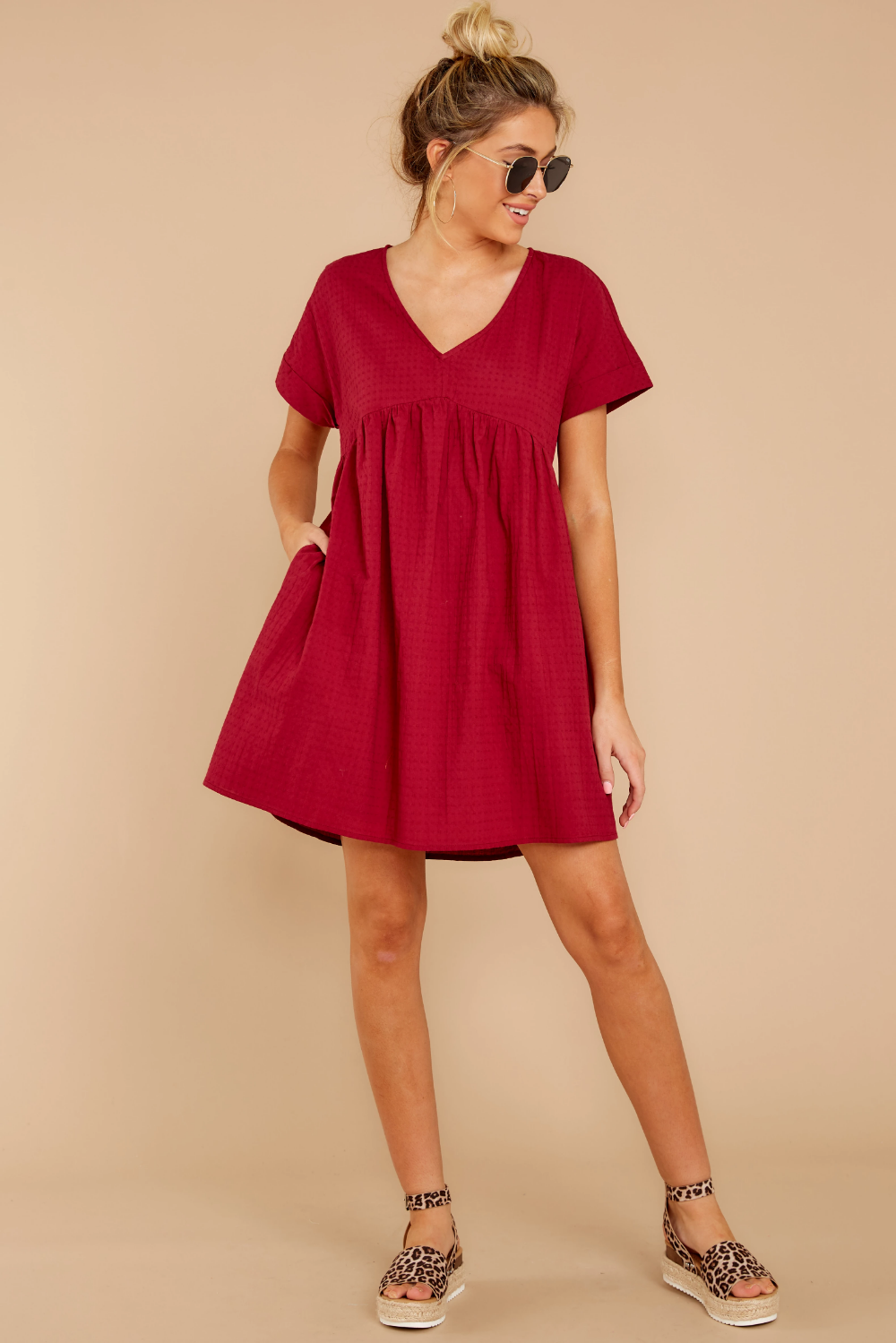 Cute Burgundy Babydoll Dress Short Sleeve Shift Dress Dress 42 Red Dress Short Sleeve Shift Dress Dresses Short Sleeve Dresses [ 1499 x 1000 Pixel ]