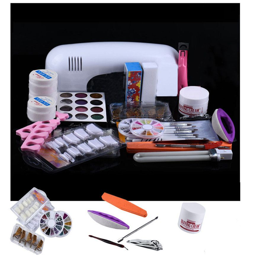 Colorwomen 21 In 1 Set Professional Diy Uv Gel Nail Art Kit 9w Lamp