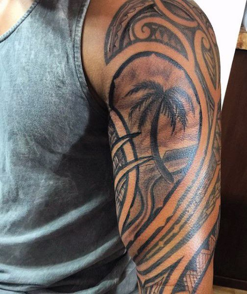 Palm Tree Masculine Hawaiian Tattoos For Men | Tattoo ...