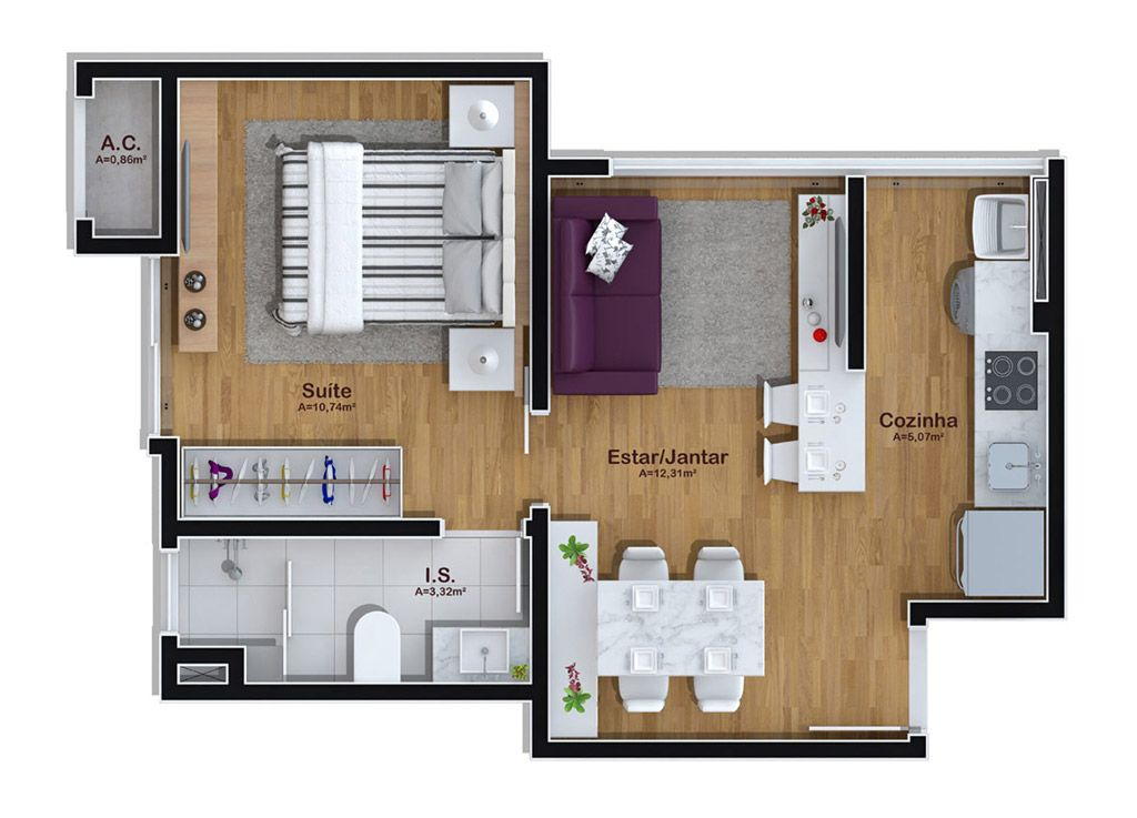 Projeto apartamento 50m2 pesquisa google mieszkanie - Plantas para dormitorio ...