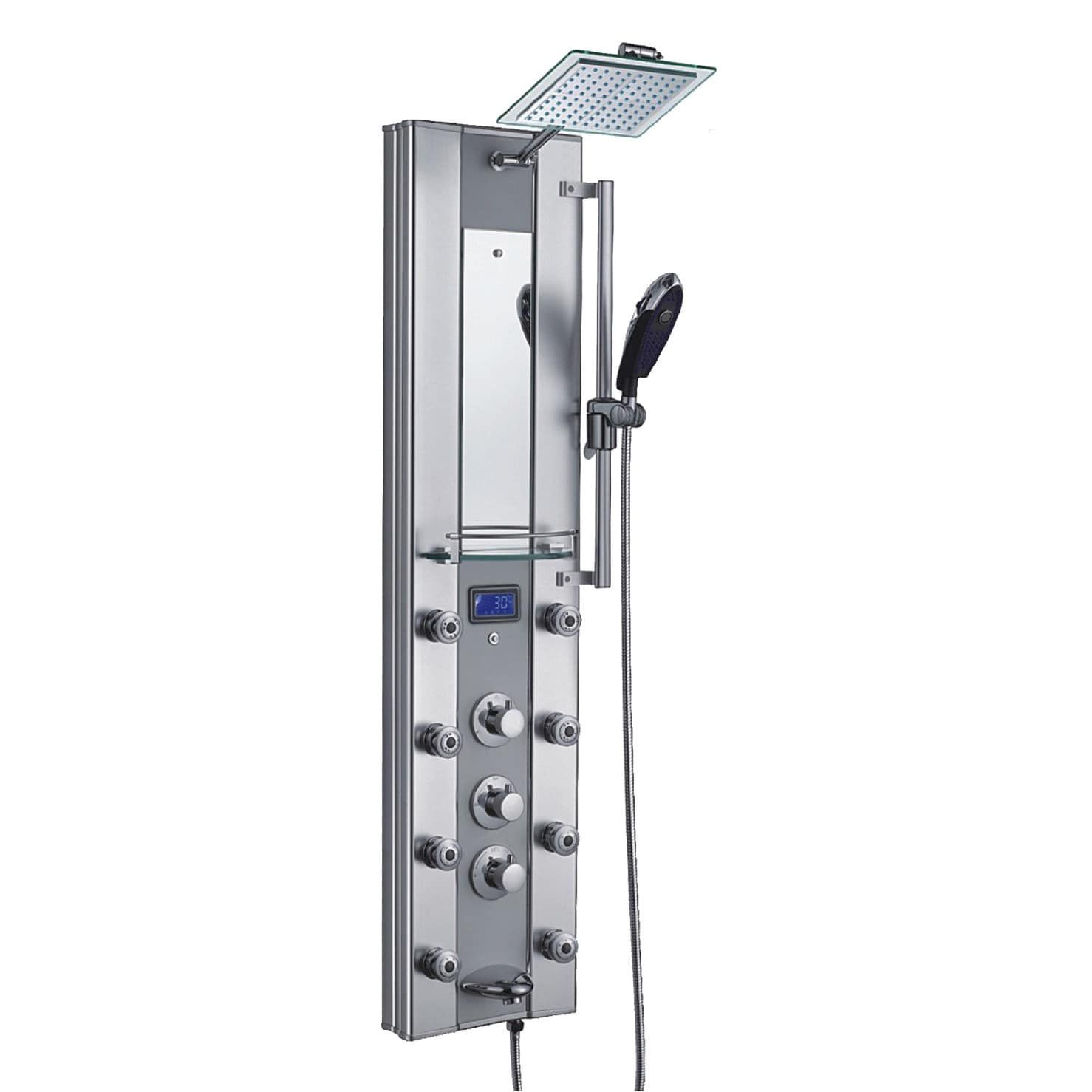 Akdy 51-inch Aluminum (Silver) Shower Panel with Tower Massage Spa ...
