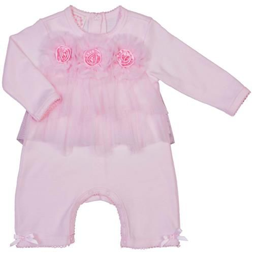 Biscotti Pale Pink Chiffon Tiered Rosebud Romper. Pale pink romper with wide tulle ruffled accents and flower embellishments for little girls. See More Girl Clothes at http://www.ourgreatshop.com/Girl-Clothes-C197.aspx