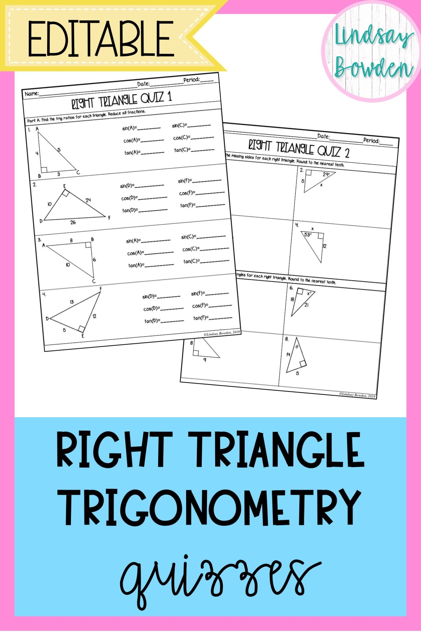 Right Triangle Trigonometry Quizzes