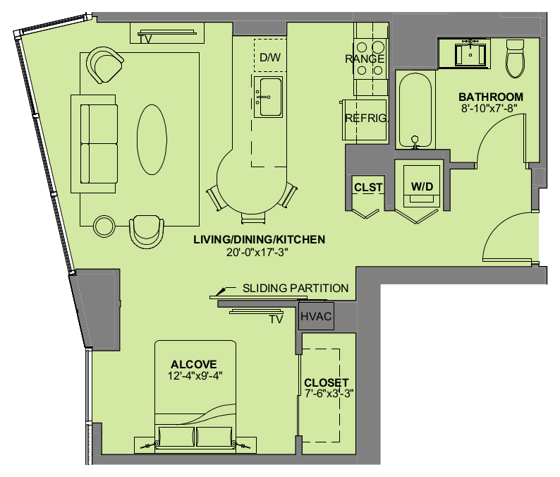 Floor Plan For Convertible Apartment Experience73 Residences In Chicago IL