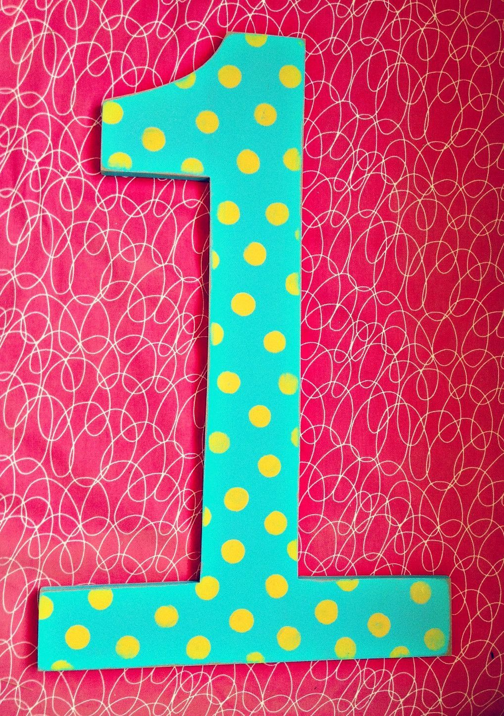 Polka Dot Large wooden birthday numbers, 24\