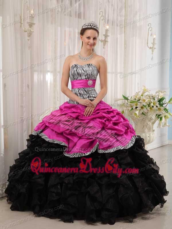 Brand New Hot Pink and Black Ball Gown Sweetheart Floor-length ...