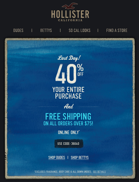 Pinned April 24th 40 Off Online Today At Hollister Via Promo Code 36040 Ditto At Abercrombie Via 16040 Coupon Coupon Apps Printable Coupons Clothing Coupons