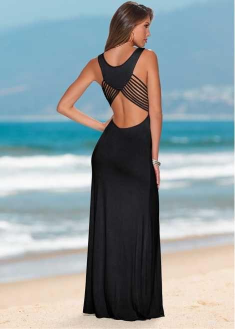 Veja agora Vestido longo com lindo detalhe nas costas. Super estiloso.  Seguir as instruções de lavação que estão na etiqueta do produto. 4439f2506c3