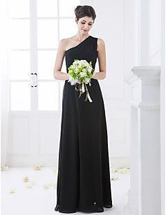 petite white chiffon one shoulder dress
