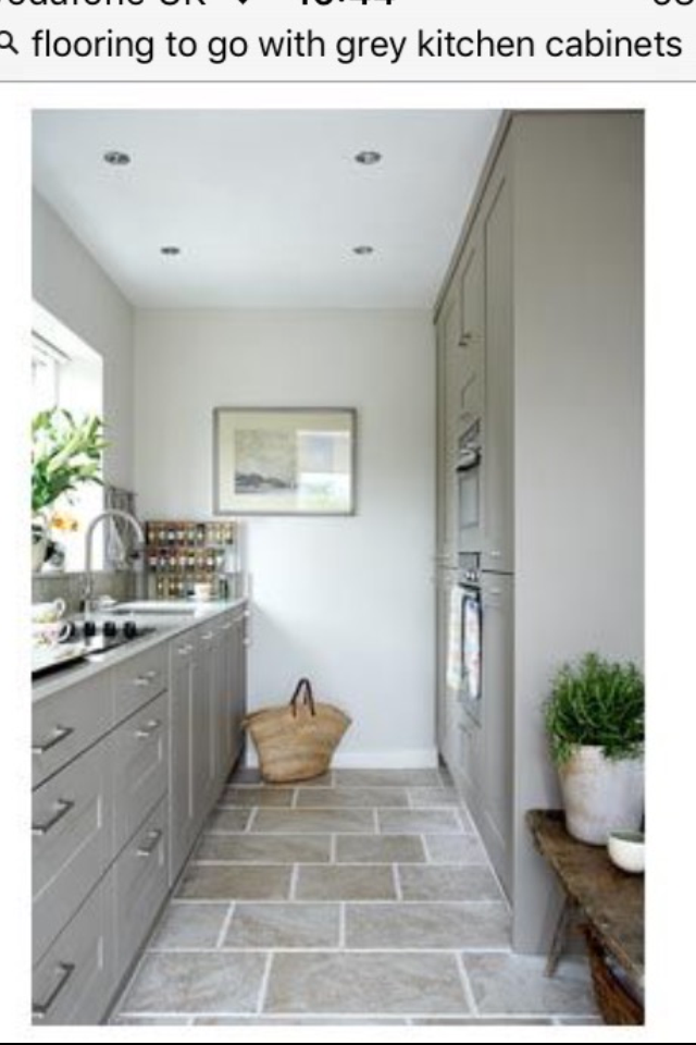 Stone Floor To Go With Grey Cabinets Grey Floor Tiles Grey Cabinets Grey Kitchens