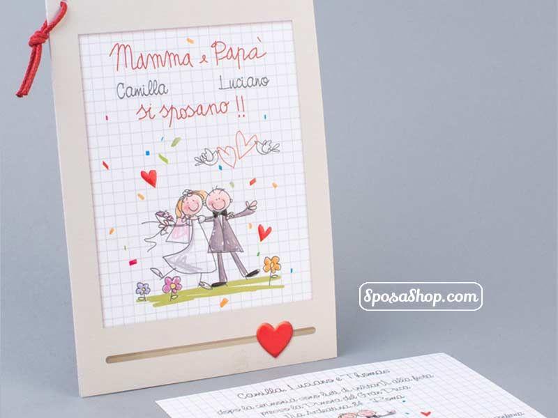 Partecipazioni Matrimonio Con Figli.Partecipazione Mamma E Papa Si Sposano Disegnati Dai Figli Nel