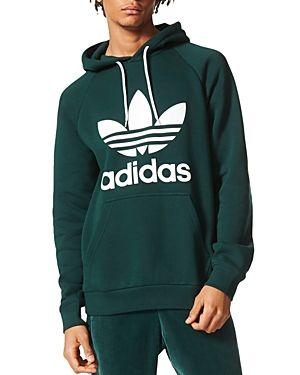 Originals Trefoil Graphic Hoodie In Green Mens Sweatshirts Hoodie Mens Designer Hoodies Graphic Hoodies