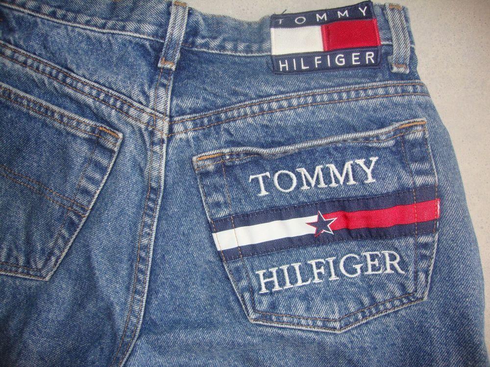 489b54be8cfb7 Vintage Womens Tommy Hilfiger Jeans 90 s Pocket Flag Big Logo High Waist  Exclnt  TommyHilfiger  Vintage