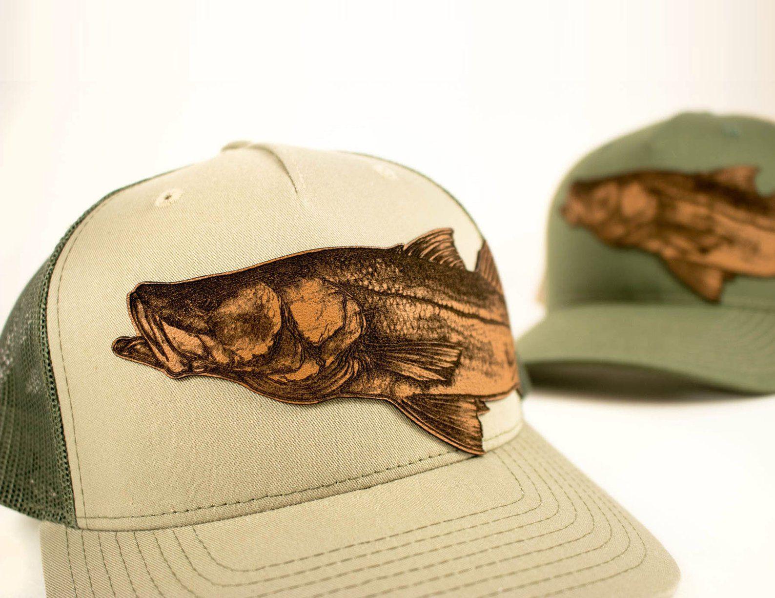 Snook Fishing Trucker Hat Genuine Leather Patch Hat Fishing Etsy Leather Patches Genuine Leather Hats