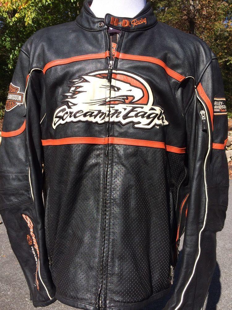 Harley Davidson Raceway Screamin Eagle Leather Jacket Men S 2xl Black Racing L Harleydavidson Motorcycle