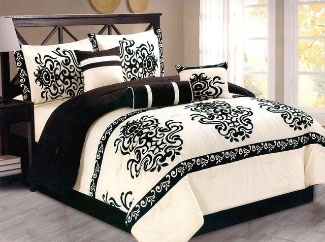 7 Pc Flocking Majestic Comforter Set Queen Black Beige . Starting at $45 on Tophatter.com!