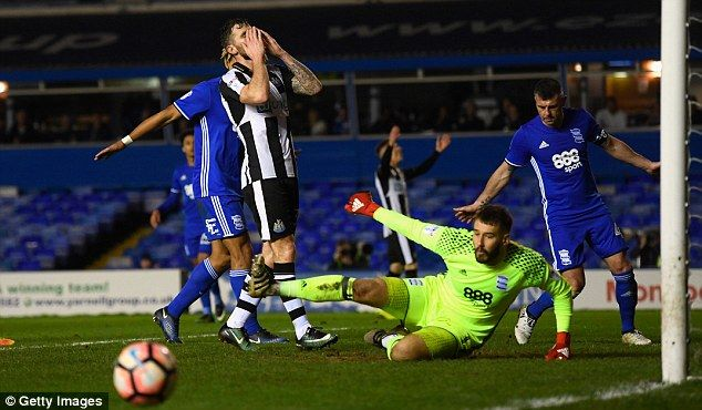 Murphy reacts after squandering a chance for his and Newcastle's second goal at St Andrew's
