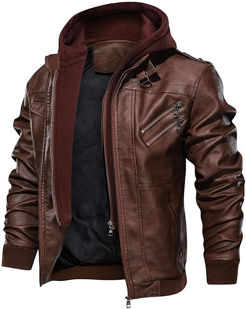Hood Crew Men S Casual Stand Collar Pu Faux Leather Zip Up Motorcycle Bomber Jacket With A Removable Faux Leather Jacket Men Leather Jacket Men Leather Jacket [ 1000 x 796 Pixel ]