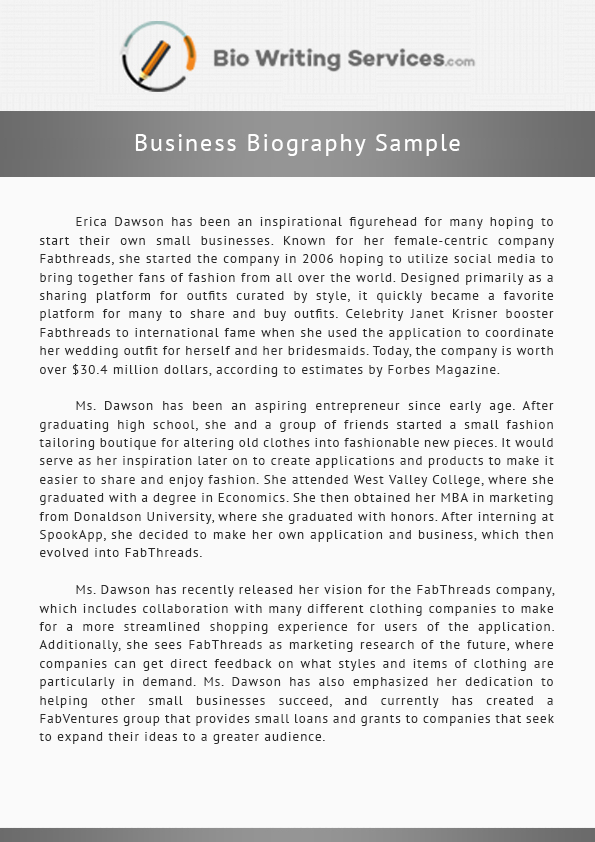 business biography sample that will get you to writing in no time  biography sample paper business biography sample that will get you to writing in no time