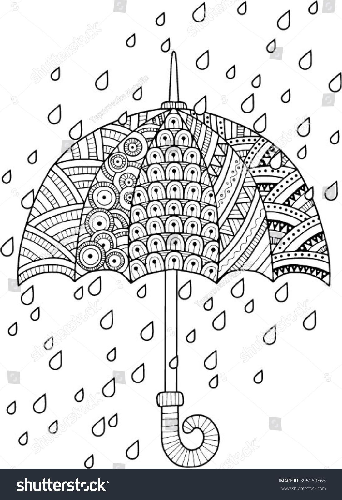 Hand draw vector doodle coloring page for adult. I love Autumn. An ...