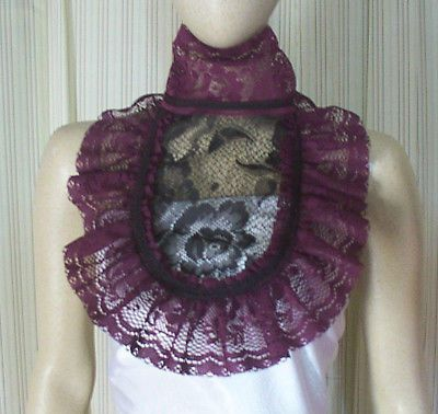 Black Lace Jabot Wicked Witch Fairytale Victorian Steampunk dress COLLAR
