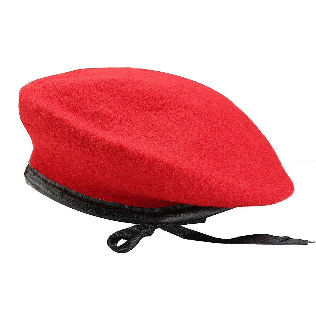 ada2dc1274120 Men Women Military Soldier Army Hat Wool Solid Beret Beanie Cap ...